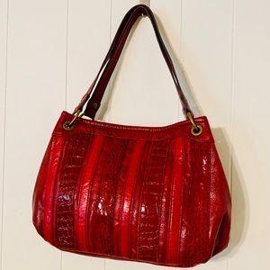 Relic Vegan Leather Red Striped Handbag